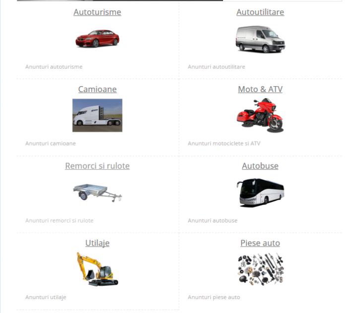 Cautare dupa categorie anunt auto